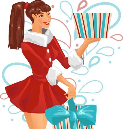 surprise face: The girl is holding a gift  Vector illustration