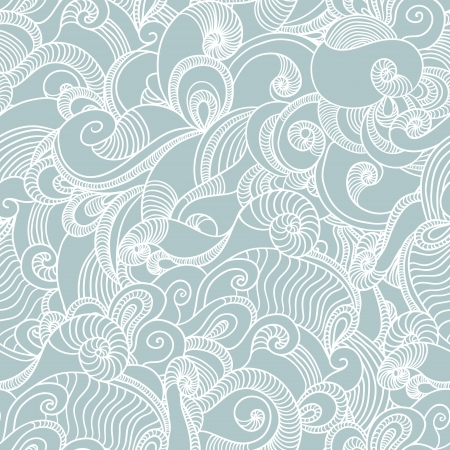 sea wave: Seamless wave hand drawn pattern  Abstract background  Illustration