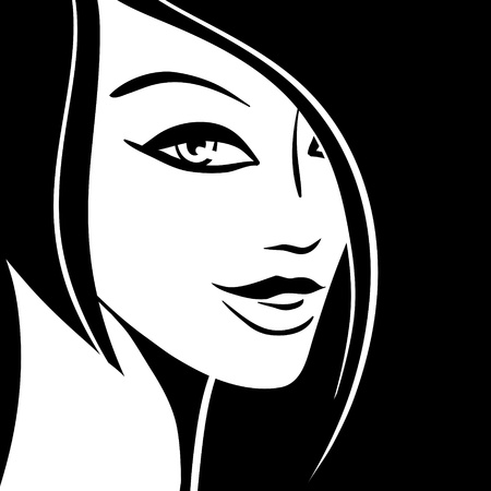 Abstract girl portrait  Beautiful woman silhouette  Vector