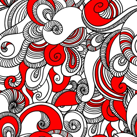 Seamless wave hand drawn pattern  Abstract background  Illustration