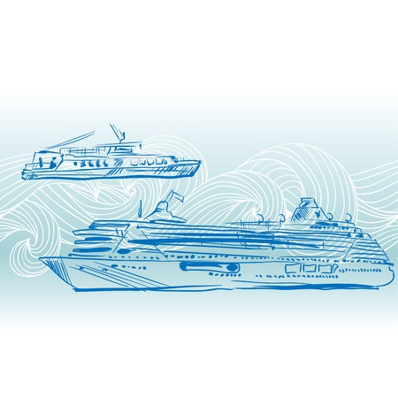 moor: Cruise ships background  Engraving Nautical design  Illustration