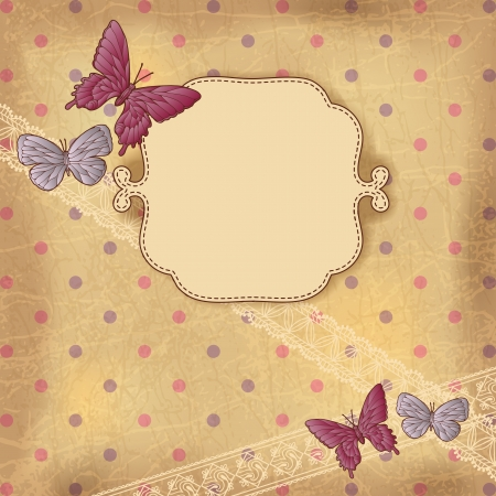 Vintage background with butterflies and lace  Old paper  Vector