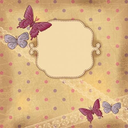 cartoline vittoriane: Vintage sfondo con farfalle e pizzo Vecchi fogli di carta
