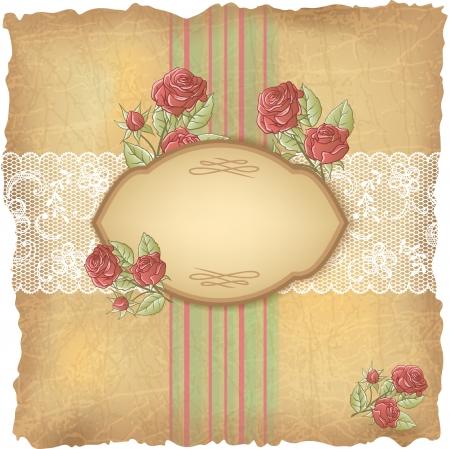 De fondo de la vendimia con las rosas y el papel de encaje antiguo