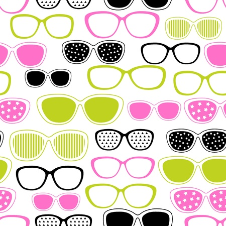 Glasses and sunglasses seamless pattern  Vector texture  Vector