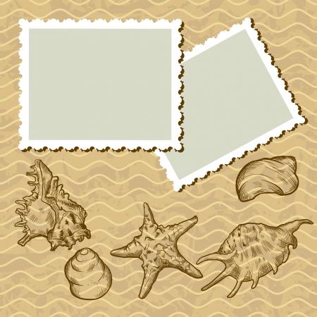 대양의: 오래된 그림 엽서 및 조개와 빈티지 배경