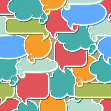 Seamless pattern of colorful speech bubbles and dialog balloons Vector