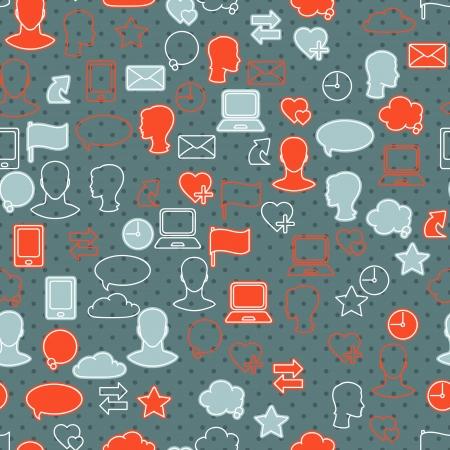 Social media network icon set seamless texture Vector