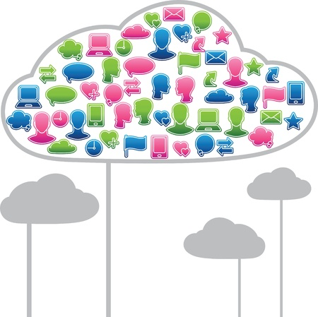 Social media clouds shape made with global communication icons Stock Vector - 14645061