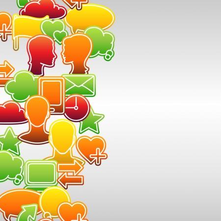 net book: Social media network icon set seamless texture