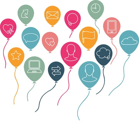 net book: Social media, communication background with flying balloons