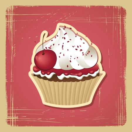 yummy: Vector illustration of cupcake with cherry  Vintage card