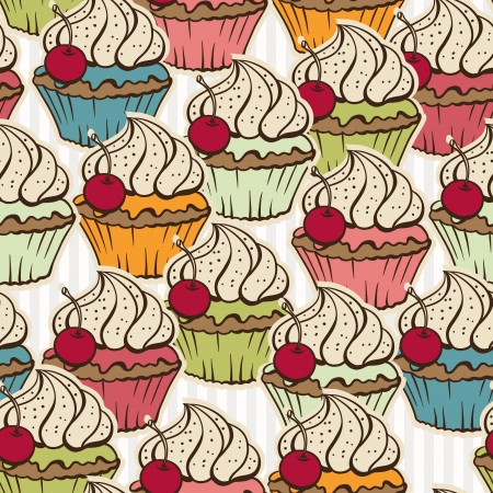 Seamless pattern made of cupcakes  Vintage background  Vector