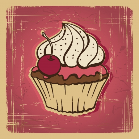 cupcake illustration:  illustration of cake in retro style  Vintage card