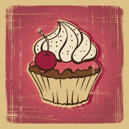 la ilustración de la torta en la tarjeta de retro estilo vintage