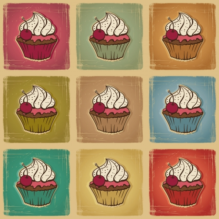 whipped: Seamless pattern made of cupcakes  Vintage background
