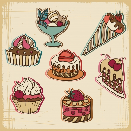 illustration of cakes in retro style  Vintage design  Vector