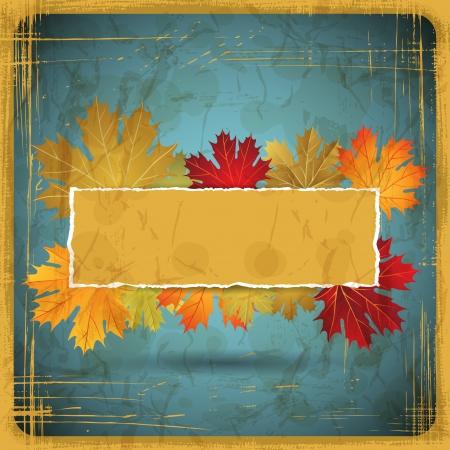 szeptember: Őszi levelek, grunge, háttér Illusztráció
