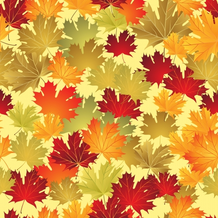 Autumn leaves seamless background  Illustration