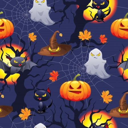 Vector background of Halloween-related objects and creatures  Vector