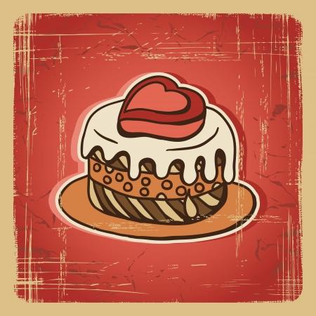 torta panna: Illustrazione vettoriale di torta nel retro carta Vintage style Vettoriali