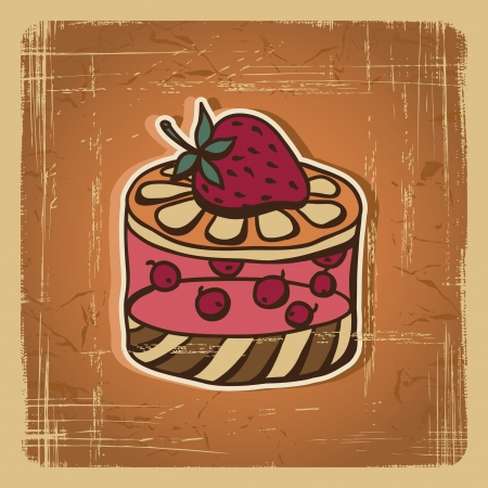 illustration of cake in retro style  Vintage card Stock Vector - 14751346