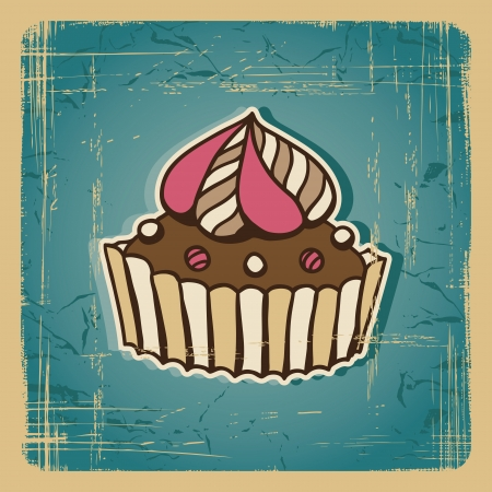 Vector illustration of cake in retro style  Vintage card  Vector