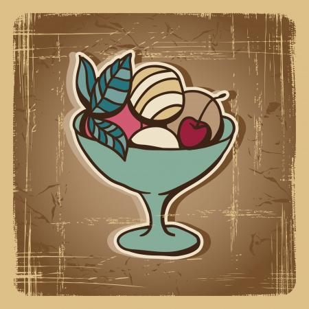 Vector illustratie van Ice Cream in retro-stijl Vintage kaart Stock Illustratie