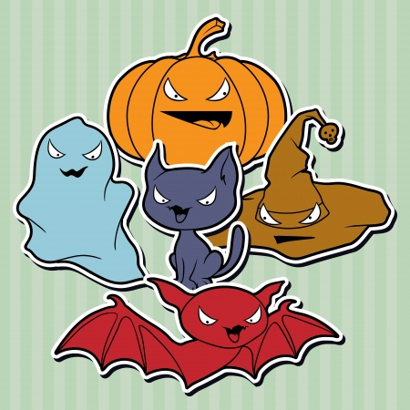 halloween cartoon: collection of Halloween-related objects and creatures  Illustration
