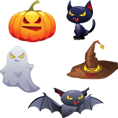 Vector collection of Halloween-related objects and creatures  Vector