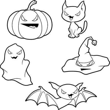 halloween cat: Vector collection of Halloween-related objects and creatures