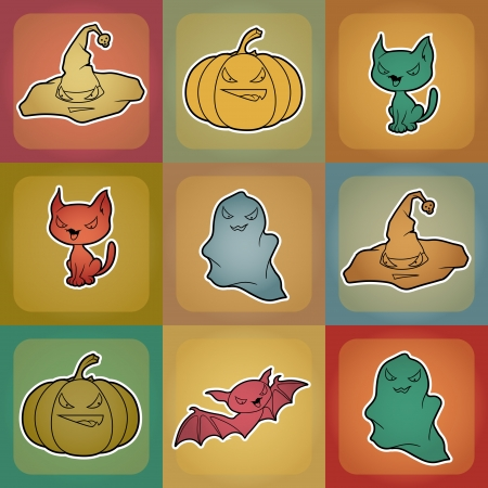 background of Halloween-related objects and creatures  Vector
