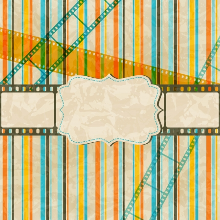 scratch card: Vintage scratch background with film frame Illustration