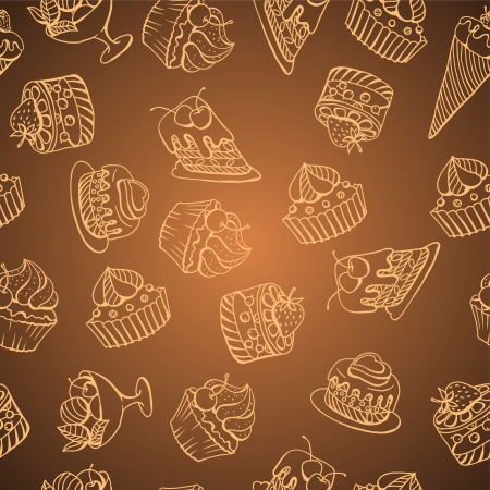 chocolate box: background with of cake in retro style  Seamless pattern  Illustration