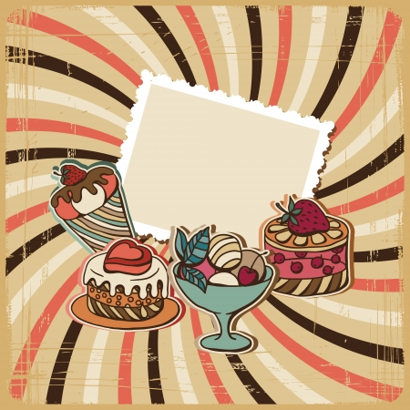 vanilla cupcake: background with of cake in retro style  Vintage card  Illustration