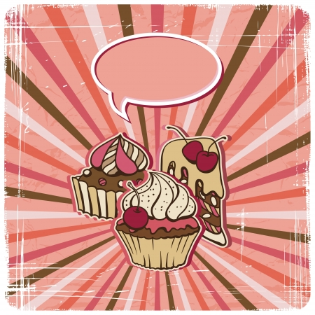 yummy: background with of cake in retro style  Vintage card  Illustration