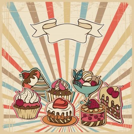arrière-plan avec des gâteaux dans la carte de style de cru rétro