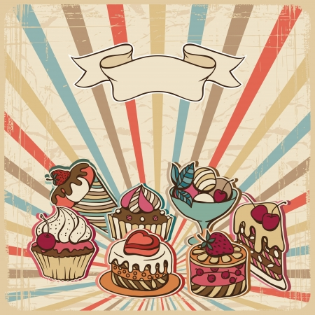 retro styled: background with of cake in retro style  Vintage card  Illustration