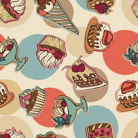 background with of cake in retro style  Seamless pattern  Vector