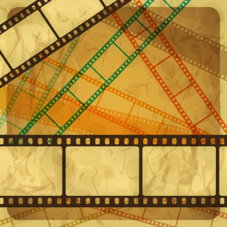 Vintage scratch background with film frame Vector