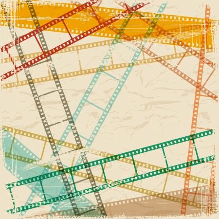 scratch card: Vintage scratch background with film frame