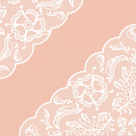 Vintage lace frame, ornamental flowers Vector