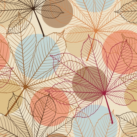 brown swirl: Seamless pattern with autumn leaves in a retro style