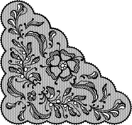 black lace: Vintage lace element, ornamental flowers