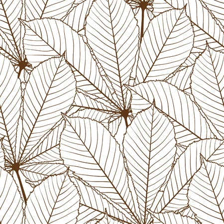 Seamless pattern with autumn leaves in a retro style  Vector