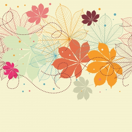 autumn leaves falling: Seamless background with falling autumn leaves in a retro style