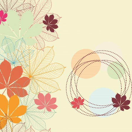 Seamless background with falling autumn leaves in a retro style  Vector