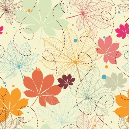 Patrón sin fisuras con las hojas de otoño en un estilo retro