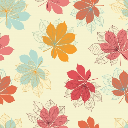 chestnut tree: Seamless pattern with autumn leaves in a retro style