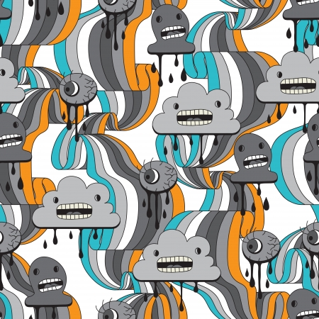 drawing on the fabric: Monsters modern seamless pattern in retro style  Illustration